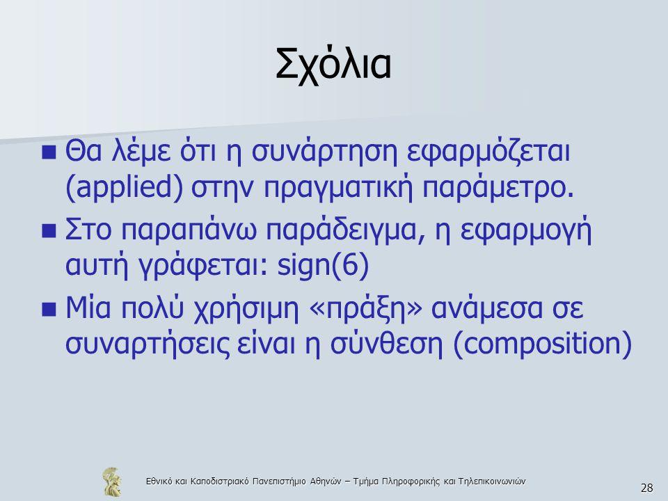 Εθνικό και Καποδιστριακό Πανεπιστήμιο Αθηνών – Τμήμα Πληροφορικής και Τηλεπικοινωνιών 28 Σχόλια  Θα λέμε ότι η συνάρτηση εφαρμόζεται (applied) στην πραγματική παράμετρο.