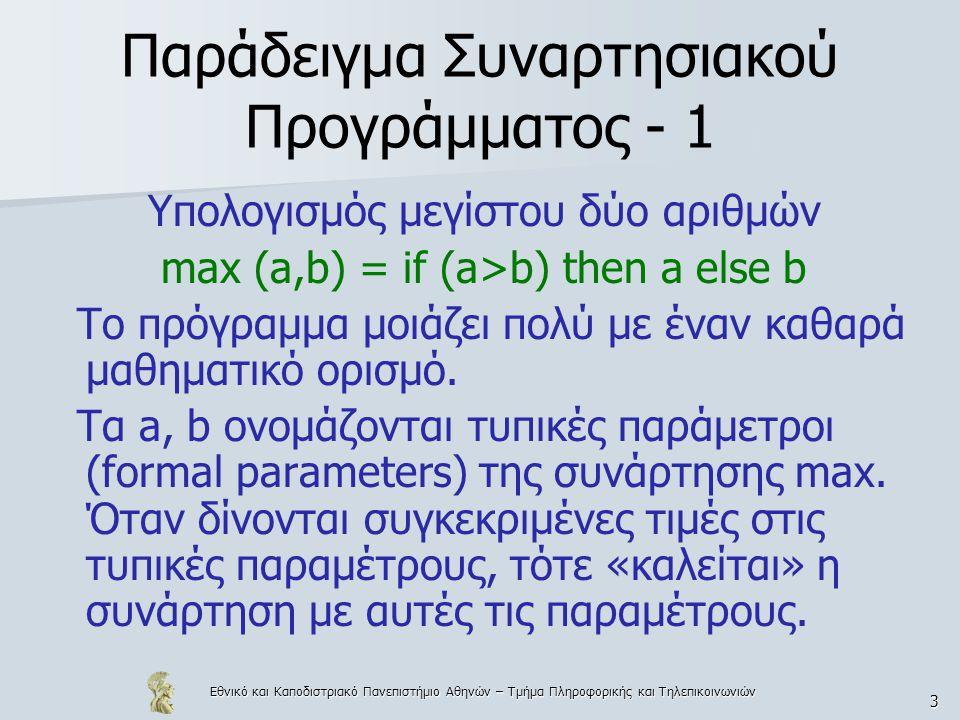 Εθνικό και Καποδιστριακό Πανεπιστήμιο Αθηνών – Τμήμα Πληροφορικής και Τηλεπικοινωνιών 74 Παραδείγματα product [] = 1 product (x:xs) = x*(product xs) maxim ::[int]  int maxim [x] = x maxim (x:xs) = max(x, maxim xs) selectenth (1, (x:xs)) = x selectenth (n+1, (x:xs)) = selectenth (n,xs)
