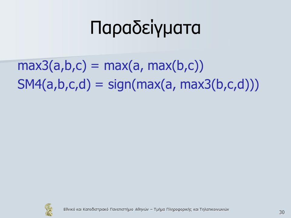 Εθνικό και Καποδιστριακό Πανεπιστήμιο Αθηνών – Τμήμα Πληροφορικής και Τηλεπικοινωνιών 30 Παραδείγματα max3(a,b,c) = max(a, max(b,c)) SM4(a,b,c,d) = si