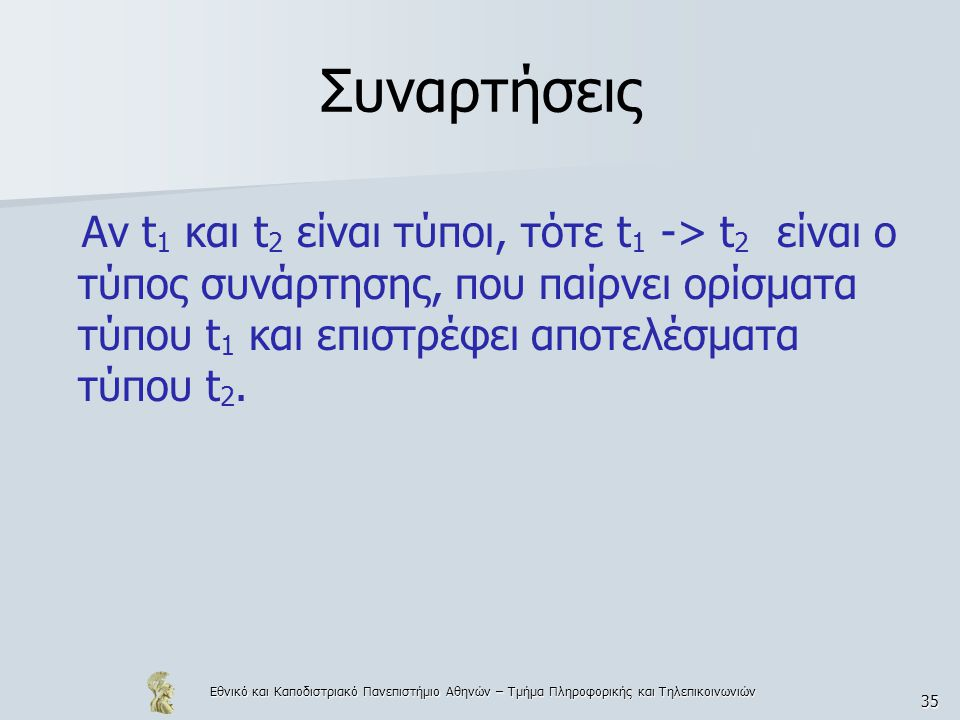 Εθνικό και Καποδιστριακό Πανεπιστήμιο Αθηνών – Τμήμα Πληροφορικής και Τηλεπικοινωνιών 35 Συναρτήσεις Αν t 1 και t 2 είναι τύποι, τότε t 1 -> t 2 είναι ο τύπος συνάρτησης, που παίρνει ορίσματα τύπου t 1 και επιστρέφει αποτελέσματα τύπου t 2.