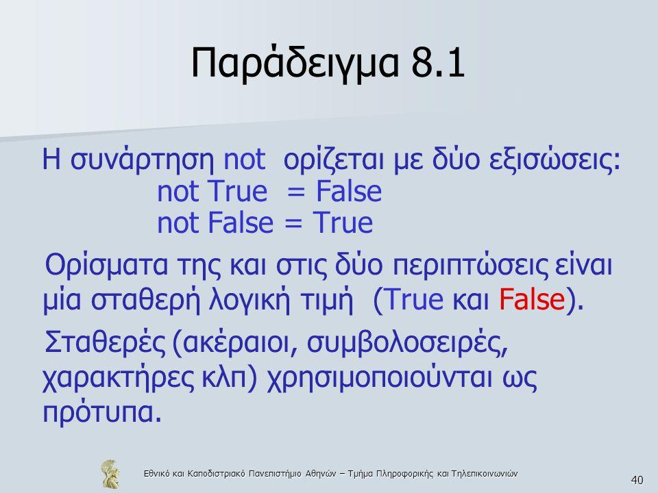 Εθνικό και Καποδιστριακό Πανεπιστήμιο Αθηνών – Τμήμα Πληροφορικής και Τηλεπικοινωνιών 40 Παράδειγμα 8.1 Η συνάρτηση not ορίζεται με δύο εξισώσεις: not True = False not False = True Ορίσματα της και στις δύο περιπτώσεις είναι μία σταθερή λογική τιμή (True και False).