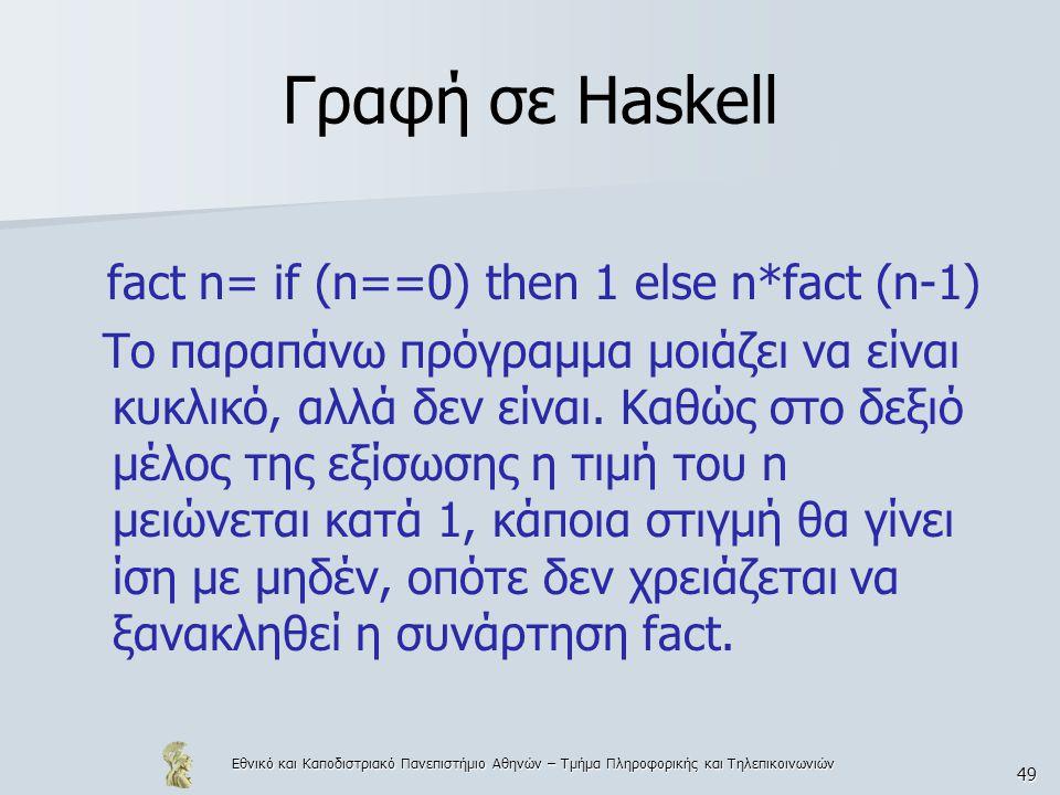 Εθνικό και Καποδιστριακό Πανεπιστήμιο Αθηνών – Τμήμα Πληροφορικής και Τηλεπικοινωνιών 49 Γραφή σε Haskell fact n= if (n==0) then 1 else n*fact (n-1) Το παραπάνω πρόγραμμα μοιάζει να είναι κυκλικό, αλλά δεν είναι.