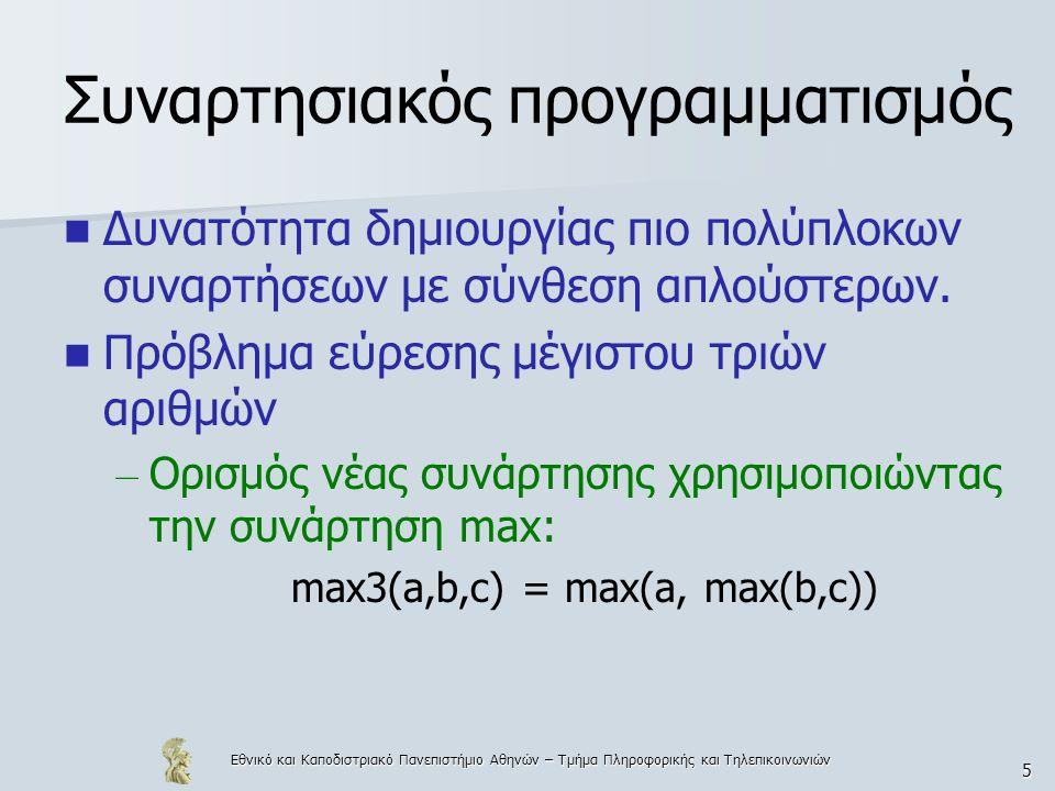 Εθνικό και Καποδιστριακό Πανεπιστήμιο Αθηνών – Τμήμα Πληροφορικής και Τηλεπικοινωνιών 116 Ένα μεγαλύτερο παράδειγμα  Treesort – Παίρνει σαν input μία μη διατεταγμένη λίστα, τη μετατρέπει σε δυαδικό δέντρο και μετά μετατρέπει το δέντρο σε λίστα treesort xs = flatten (maketree xs) maketree [] = Empty maketree (x:xs) = insert x (maketree xs) insert x Empty = Node x Empty Empty insert x (node a l r) = if (x< =a) then (Node a (insert x l) r) else (Node a l (insert x r )