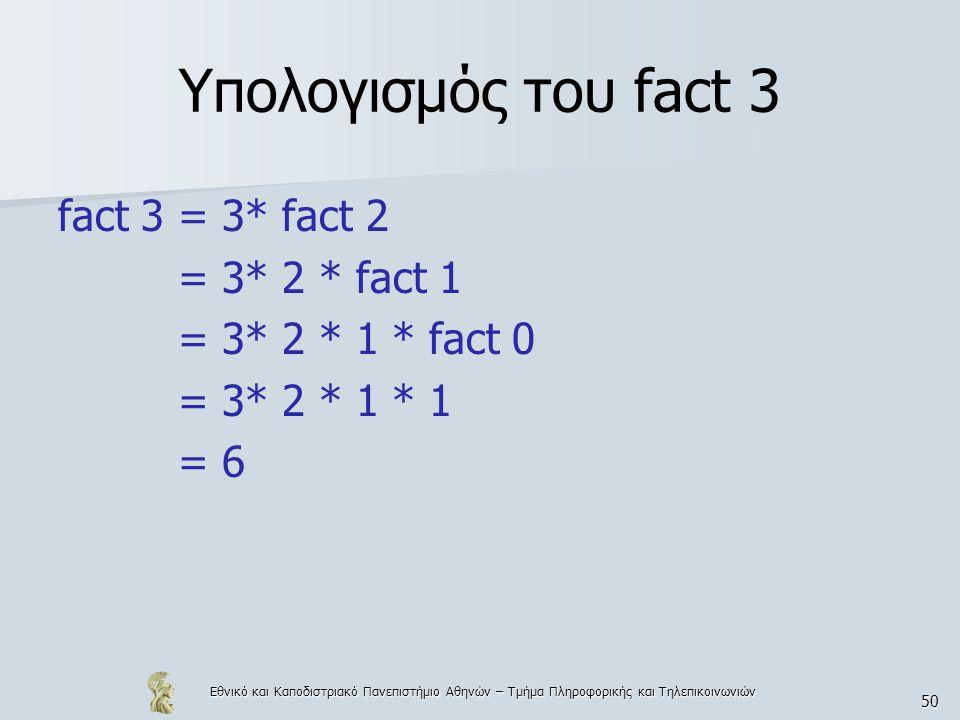 Εθνικό και Καποδιστριακό Πανεπιστήμιο Αθηνών – Τμήμα Πληροφορικής και Τηλεπικοινωνιών 50 Υπολογισμός του fact 3 fact 3 = 3* fact 2 = 3* 2 * fact 1 = 3