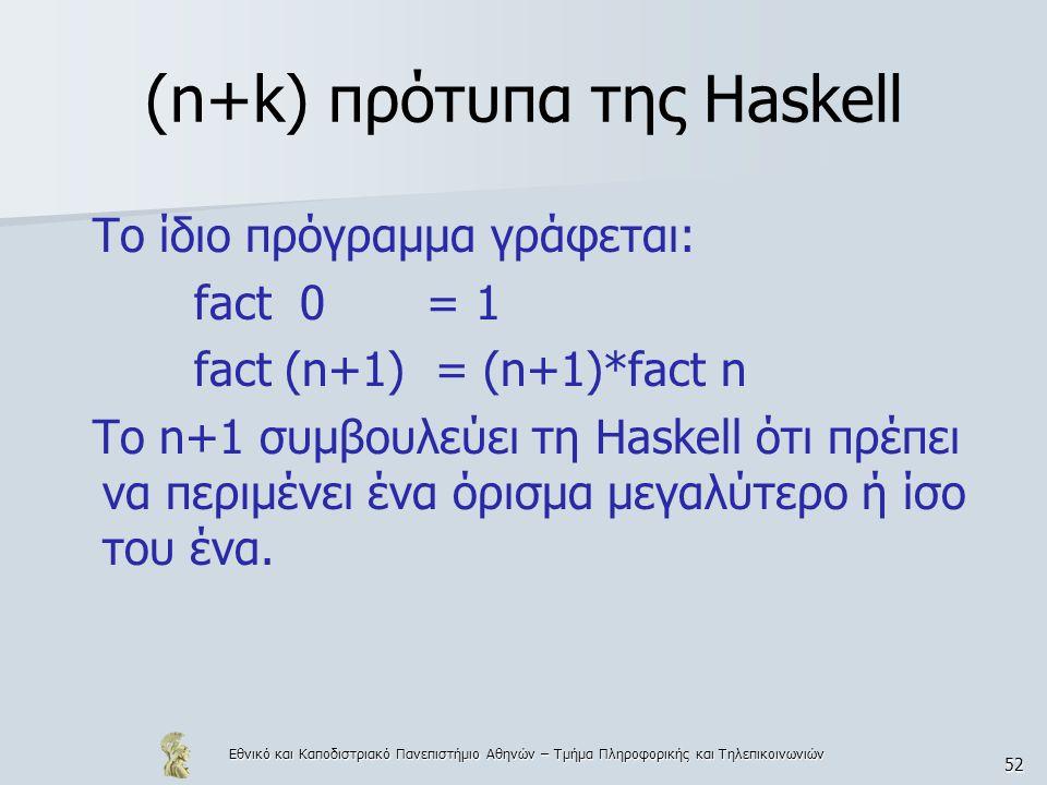 Εθνικό και Καποδιστριακό Πανεπιστήμιο Αθηνών – Τμήμα Πληροφορικής και Τηλεπικοινωνιών 52 (n+k) πρότυπα της Haskell To ίδιο πρόγραμμα γράφεται: fact 0