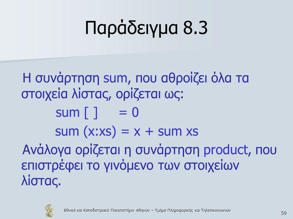 Εθνικό και Καποδιστριακό Πανεπιστήμιο Αθηνών – Τμήμα Πληροφορικής και Τηλεπικοινωνιών 59 Παράδειγμα 8.3 Η συνάρτηση sum, που αθροίζει όλα τα στοιχεία λίστας, ορίζεται ως: sum [ ] = 0 sum (x:xs) = x + sum xs Ανάλογα ορίζεται η συνάρτηση product, που επιστρέφει το γινόμενο των στοιχείων λίστας.