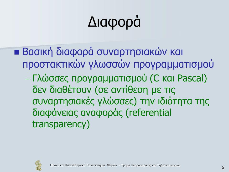 Εθνικό και Καποδιστριακό Πανεπιστήμιο Αθηνών – Τμήμα Πληροφορικής και Τηλεπικοινωνιών 6 Διαφορά  Βασική διαφορά συναρτησιακών και προστακτικών γλωσσών προγραμματισμού – Γλώσσες προγραμματισμού (C και Pascal) δεν διαθέτουν (σε αντίθεση με τις συναρτησιακές γλώσσες) την ιδιότητα της διαφάνειας αναφοράς (referential transparency)