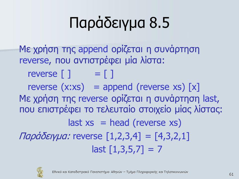 Εθνικό και Καποδιστριακό Πανεπιστήμιο Αθηνών – Τμήμα Πληροφορικής και Τηλεπικοινωνιών 61 Παράδειγμα 8.5 Με χρήση της append ορίζεται η συνάρτηση reverse, που αντιστρέφει μία λίστα: reverse [ ] = [ ] reverse (x:xs) = append (reverse xs) [x] Με χρήση της reverse ορίζεται η συνάρτηση last, που επιστρέφει το τελευταίο στοιχείο μίας λίστας: last xs = head (reverse xs) Παράδειγμα: reverse [1,2,3,4] = [4,3,2,1] last [1,3,5,7] = 7