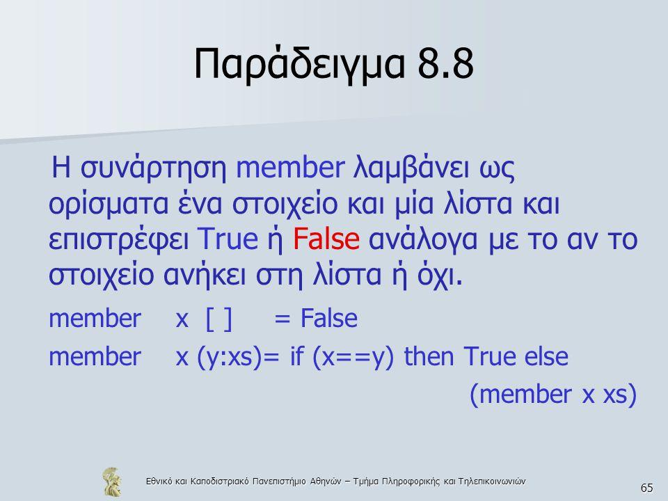 Εθνικό και Καποδιστριακό Πανεπιστήμιο Αθηνών – Τμήμα Πληροφορικής και Τηλεπικοινωνιών 65 Παράδειγμα 8.8 Η συνάρτηση member λαμβάνει ως ορίσματα ένα στοιχείο και μία λίστα και επιστρέφει True ή False ανάλογα με το αν το στοιχείο ανήκει στη λίστα ή όχι.