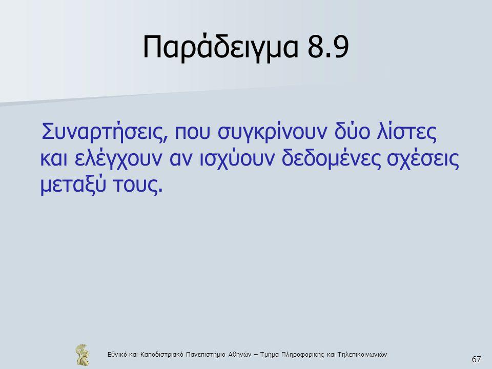 Εθνικό και Καποδιστριακό Πανεπιστήμιο Αθηνών – Τμήμα Πληροφορικής και Τηλεπικοινωνιών 67 Παράδειγμα 8.9 Συναρτήσεις, που συγκρίνουν δύο λίστες και ελέγχουν αν ισχύουν δεδομένες σχέσεις μεταξύ τους.