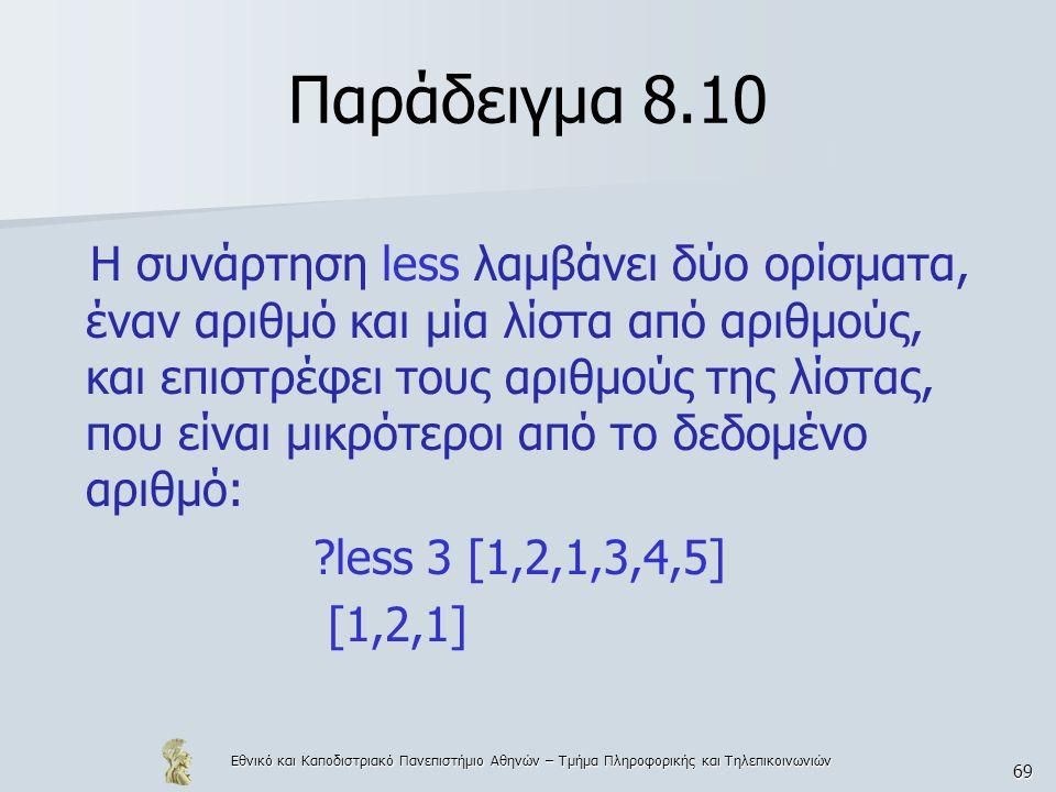 Εθνικό και Καποδιστριακό Πανεπιστήμιο Αθηνών – Τμήμα Πληροφορικής και Τηλεπικοινωνιών 69 Παράδειγμα 8.10 Η συνάρτηση less λαμβάνει δύο ορίσματα, έναν αριθμό και μία λίστα από αριθμούς, και επιστρέφει τους αριθμούς της λίστας, που είναι μικρότεροι από το δεδομένο αριθμό: less 3 [1,2,1,3,4,5] [1,2,1]