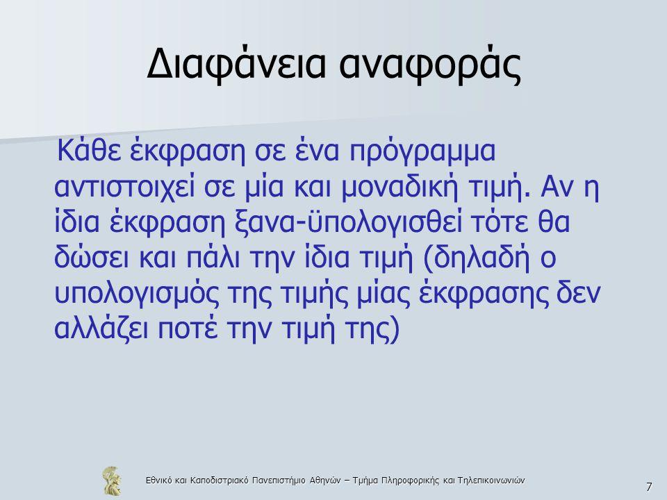 Εθνικό και Καποδιστριακό Πανεπιστήμιο Αθηνών – Τμήμα Πληροφορικής και Τηλεπικοινωνιών 118 Εξαγωγή τύπων  Αν μία γλώσσα υποστηρίζει αυτόματη εξαγωγή και έλεγχο τύπων, τότε ο προγραμματιστής διευκολύνεται και πολλά από τα λάθη εντοπίζονται «at compile-time» – Ένας τύπος, που περιέχει μία τουλάχιστον μεταβλητή τύπου ονομάζεται πολυμορφικός – Ένας τύπος, που δεν περιέχει μεταβλητές τύπου ονομάζεται μονομορφικός