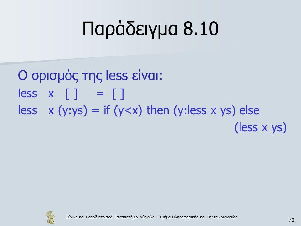 Εθνικό και Καποδιστριακό Πανεπιστήμιο Αθηνών – Τμήμα Πληροφορικής και Τηλεπικοινωνιών 70 Παράδειγμα 8.10 Ο ορισμός της less είναι: less x [ ] = [ ] le