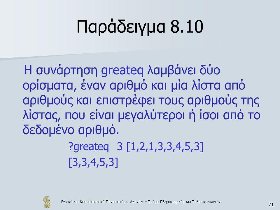 Εθνικό και Καποδιστριακό Πανεπιστήμιο Αθηνών – Τμήμα Πληροφορικής και Τηλεπικοινωνιών 71 Παράδειγμα 8.10 Η συνάρτηση greateq λαμβάνει δύο ορίσματα, έναν αριθμό και μία λίστα από αριθμούς και επιστρέφει τους αριθμούς της λίστας, που είναι μεγαλύτεροι ή ίσοι από το δεδομένο αριθμό.