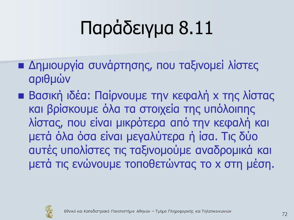 Εθνικό και Καποδιστριακό Πανεπιστήμιο Αθηνών – Τμήμα Πληροφορικής και Τηλεπικοινωνιών 72 Παράδειγμα 8.11  Δημιουργία συνάρτησης, που ταξινομεί λίστες αριθμών  Βασική ιδέα: Παίρνουμε την κεφαλή x της λίστας και βρίσκουμε όλα τα στοιχεία της υπόλοιπης λίστας, που είναι μικρότερα από την κεφαλή και μετά όλα όσα είναι μεγαλύτερα ή ίσα.