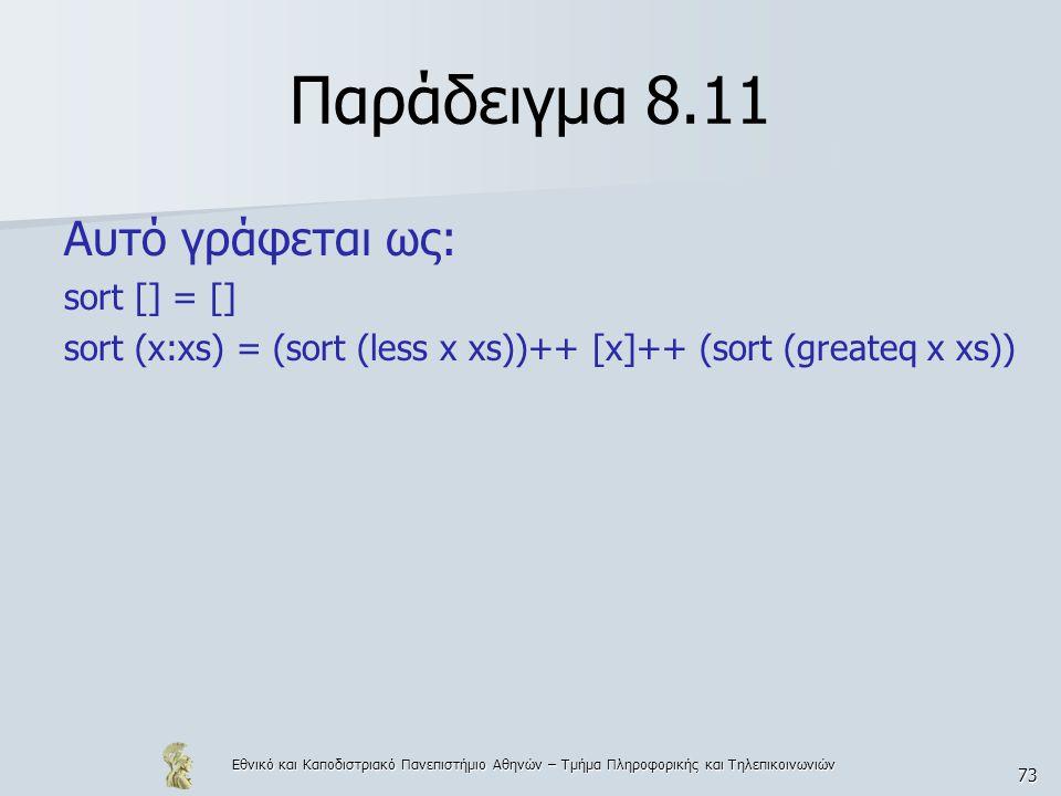 Εθνικό και Καποδιστριακό Πανεπιστήμιο Αθηνών – Τμήμα Πληροφορικής και Τηλεπικοινωνιών 73 Παράδειγμα 8.11 Αυτό γράφεται ως: sort [] = [] sort (x:xs) = (sort (less x xs))++ [x]++ (sort (greateq x xs))