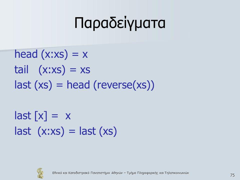 Εθνικό και Καποδιστριακό Πανεπιστήμιο Αθηνών – Τμήμα Πληροφορικής και Τηλεπικοινωνιών 75 Παραδείγματα head (x:xs) = x tail (x:xs) = xs last (xs) = head (reverse(xs)) last [x] = x last (x:xs) = last (xs)