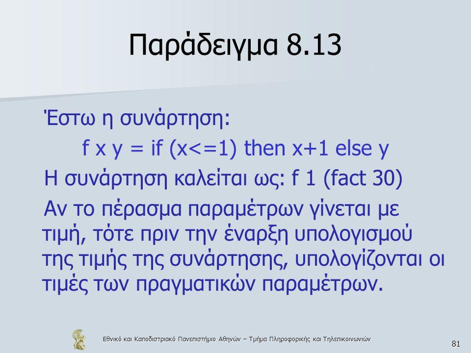 Εθνικό και Καποδιστριακό Πανεπιστήμιο Αθηνών – Τμήμα Πληροφορικής και Τηλεπικοινωνιών 81 Παράδειγμα 8.13 Έστω η συνάρτηση: f x y = if (x<=1) then x+1 else y Η συνάρτηση καλείται ως: f 1 (fact 30) Αν το πέρασμα παραμέτρων γίνεται με τιμή, τότε πριν την έναρξη υπολογισμού της τιμής της συνάρτησης, υπολογίζονται οι τιμές των πραγματικών παραμέτρων.