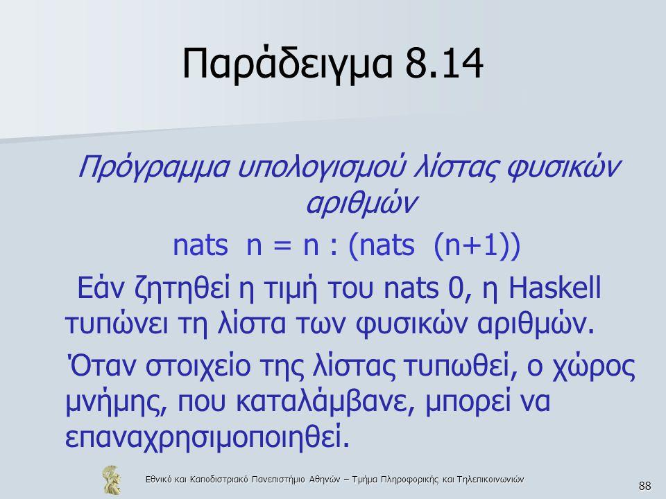 Εθνικό και Καποδιστριακό Πανεπιστήμιο Αθηνών – Τμήμα Πληροφορικής και Τηλεπικοινωνιών 88 Παράδειγμα 8.14 Πρόγραμμα υπολογισμού λίστας φυσικών αριθμών nats n = n : (nats (n+1)) Εάν ζητηθεί η τιμή του nats 0, η Haskell τυπώνει τη λίστα των φυσικών αριθμών.