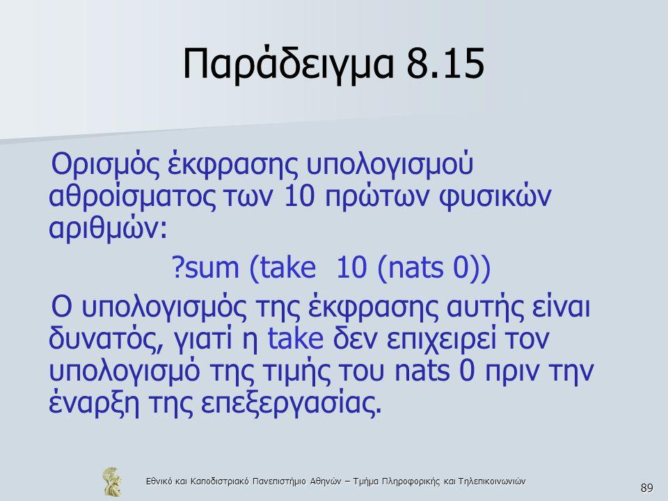 Εθνικό και Καποδιστριακό Πανεπιστήμιο Αθηνών – Τμήμα Πληροφορικής και Τηλεπικοινωνιών 89 Παράδειγμα 8.15 Ορισμός έκφρασης υπολογισμού αθροίσματος των 10 πρώτων φυσικών αριθμών: sum (take 10 (nats 0)) Ο υπολογισμός της έκφρασης αυτής είναι δυνατός, γιατί η take δεν επιχειρεί τον υπολογισμό της τιμής του nats 0 πριν την έναρξη της επεξεργασίας.