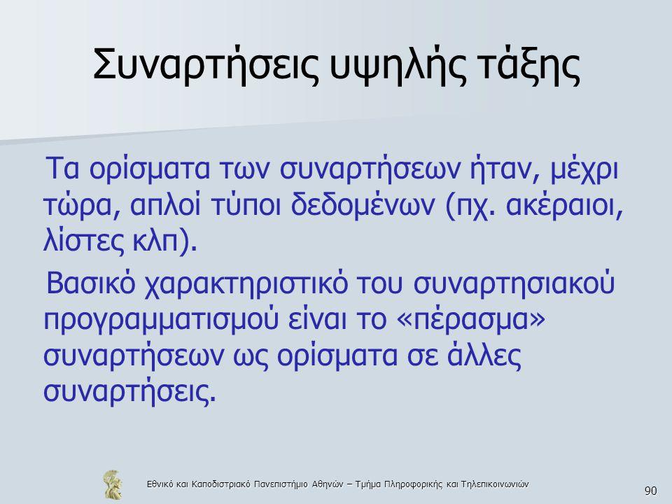 Εθνικό και Καποδιστριακό Πανεπιστήμιο Αθηνών – Τμήμα Πληροφορικής και Τηλεπικοινωνιών 90 Συναρτήσεις υψηλής τάξης Τα ορίσματα των συναρτήσεων ήταν, μέ