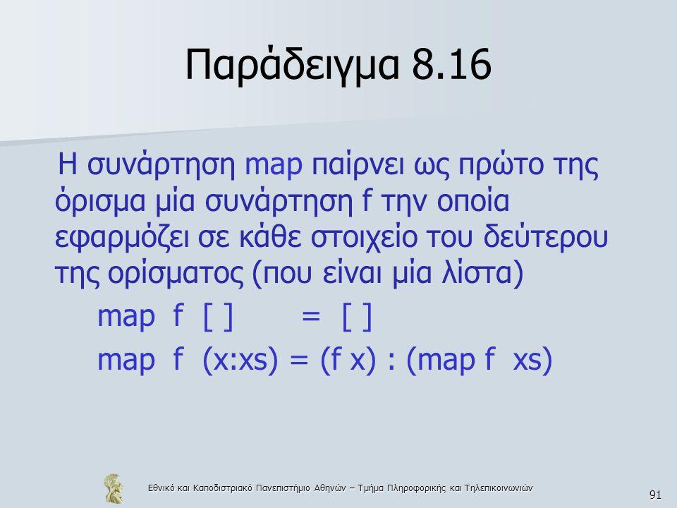 Εθνικό και Καποδιστριακό Πανεπιστήμιο Αθηνών – Τμήμα Πληροφορικής και Τηλεπικοινωνιών 91 Παράδειγμα 8.16 Η συνάρτηση map παίρνει ως πρώτο της όρισμα μία συνάρτηση f την οποία εφαρμόζει σε κάθε στοιχείο του δεύτερου της ορίσματος (που είναι μία λίστα) map f [ ] = [ ] map f (x:xs) = (f x) : (map f xs)