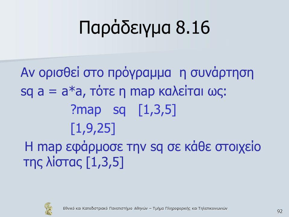 Εθνικό και Καποδιστριακό Πανεπιστήμιο Αθηνών – Τμήμα Πληροφορικής και Τηλεπικοινωνιών 92 Παράδειγμα 8.16 Αν ορισθεί στο πρόγραμμα η συνάρτηση sq a = a*a, τότε η map καλείται ως: map sq [1,3,5] [1,9,25] H map εφάρμοσε την sq σε κάθε στοιχείο της λίστας [1,3,5]