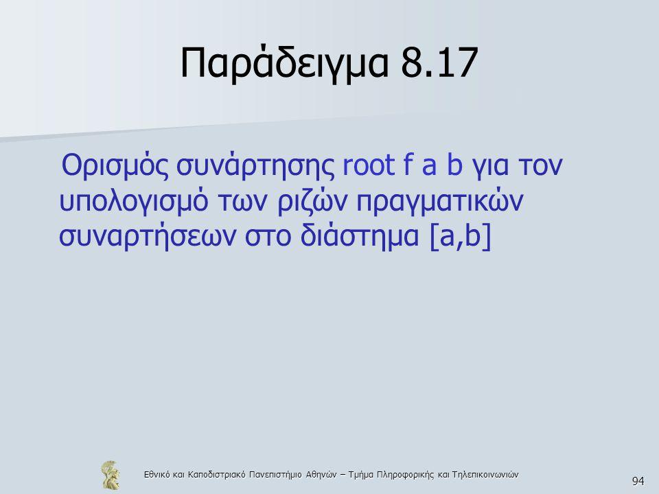 Εθνικό και Καποδιστριακό Πανεπιστήμιο Αθηνών – Τμήμα Πληροφορικής και Τηλεπικοινωνιών 94 Παράδειγμα 8.17 Ορισμός συνάρτησης root f a b για τον υπολογισμό των ριζών πραγματικών συναρτήσεων στο διάστημα [a,b]