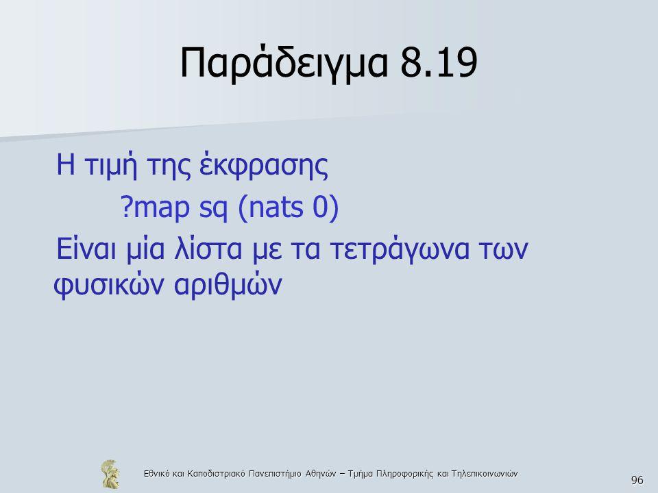 Εθνικό και Καποδιστριακό Πανεπιστήμιο Αθηνών – Τμήμα Πληροφορικής και Τηλεπικοινωνιών 96 Παράδειγμα 8.19 Η τιμή της έκφρασης map sq (nats 0) Είναι μία λίστα με τα τετράγωνα των φυσικών αριθμών