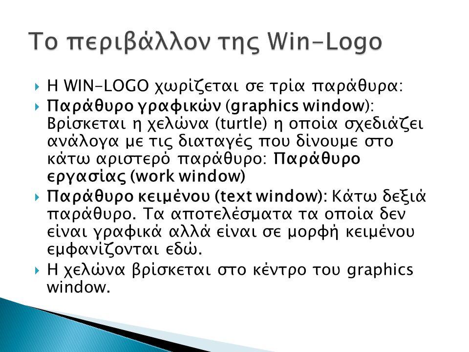  Η WIN-LOGO χωρίζεται σε τρία παράθυρα:  Παράθυρο γραφικών (graphics window): Βρίσκεται η χελώνα (turtle) η οποία σχεδιάζει ανάλογα με τις διαταγές που δίνουμε στο κάτω αριστερό παράθυρο: Παράθυρο εργασίας (work window)  Παράθυρο κειμένου (text window): Κάτω δεξιά παράθυρο.