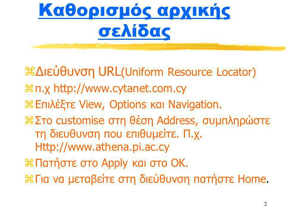3 Καθορισμός αρχικής σελίδας zΔιεύθυνση URL (Uniform Resource Locator) zπ.χ http://www.cytanet.com.cy zΕπιλέξτε View, Options και Navigation. zΣτο cus
