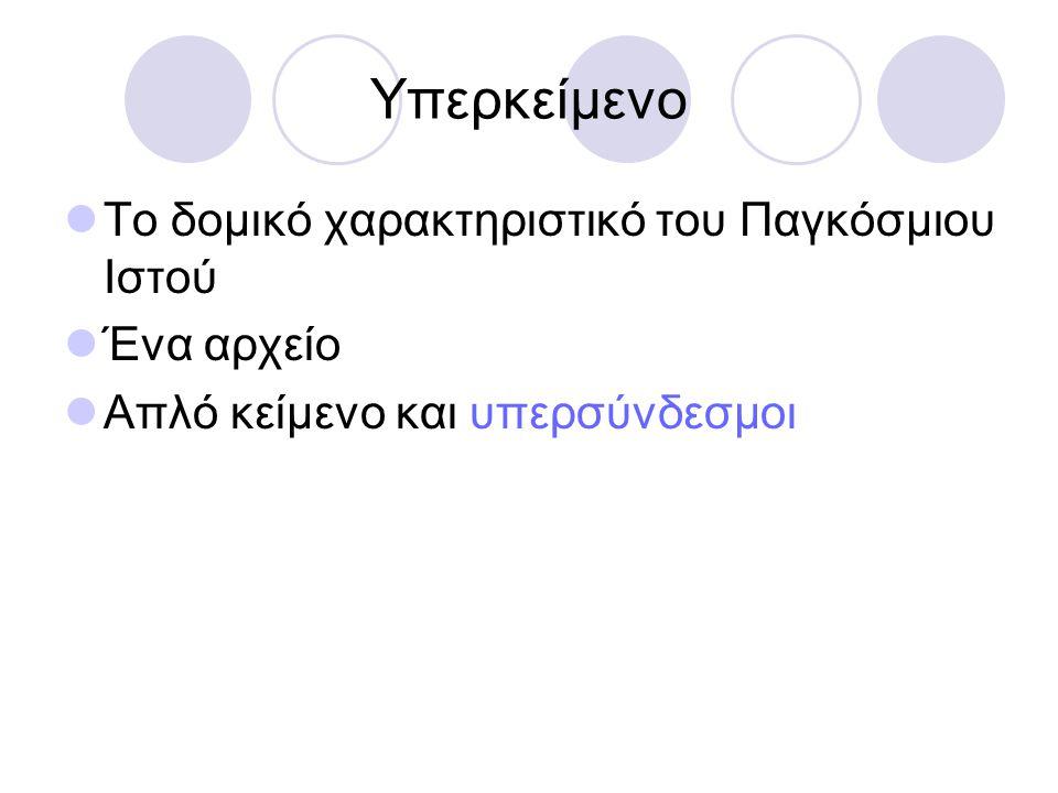 Υπερσύνδεσμος σε άλλη ιστοσελίδα  λέξη σύνδεσμος  Url διεύθυνση  Λέξη,-εις που θα γίνει σύνδεσμος  Προσοχή κατά την εισαγωγή της url  Αν είναι επιλεγμένο το θα εισαχθεί δύο φορές