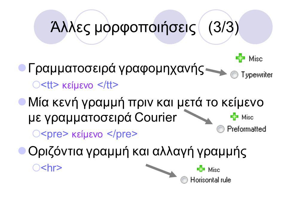 Άλλες μορφοποιήσεις (3/3)  Γραμματοσειρά γραφομηχανής  κείμενο  Μία κενή γραμμή πριν και μετά το κείμενο με γραμματοσειρά Courier  κείμενο  Οριζό