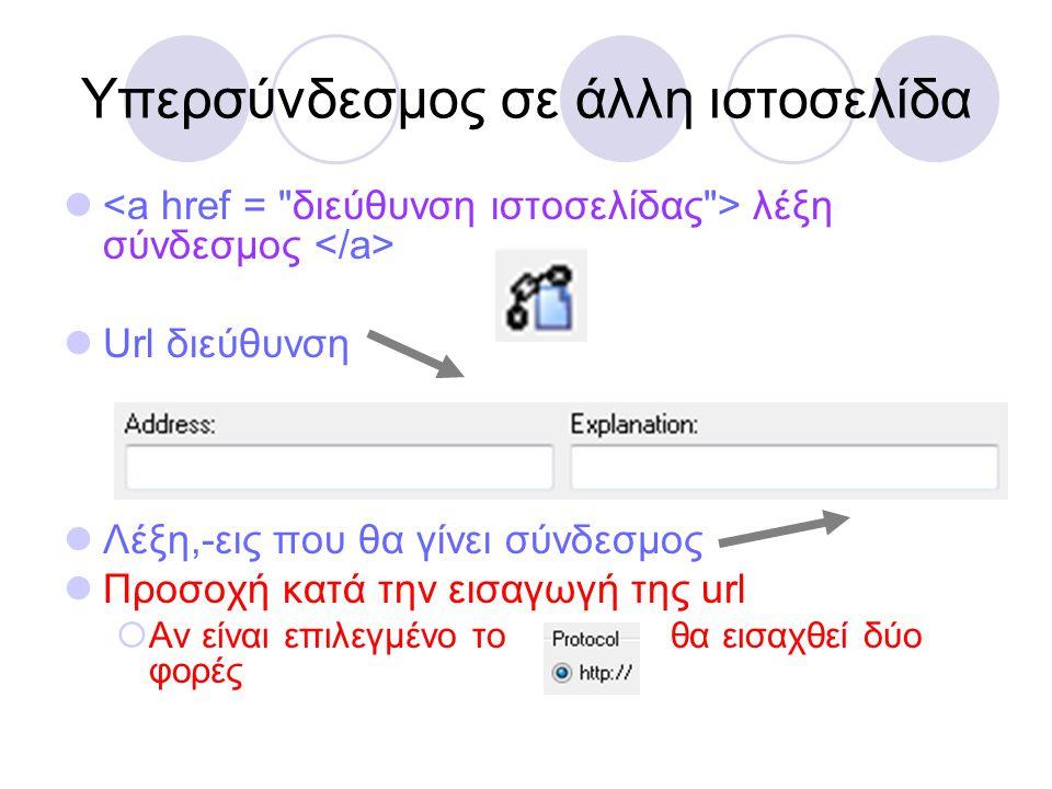 Υπερσύνδεσμος σε άλλη ιστοσελίδα  λέξη σύνδεσμος  Url διεύθυνση  Λέξη,-εις που θα γίνει σύνδεσμος  Προσοχή κατά την εισαγωγή της url  Αν είναι επ
