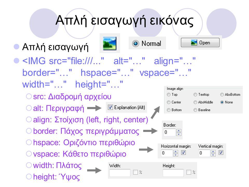 Απλή εισαγωγή εικόνας  Απλή εισαγωγή  <IMG src=