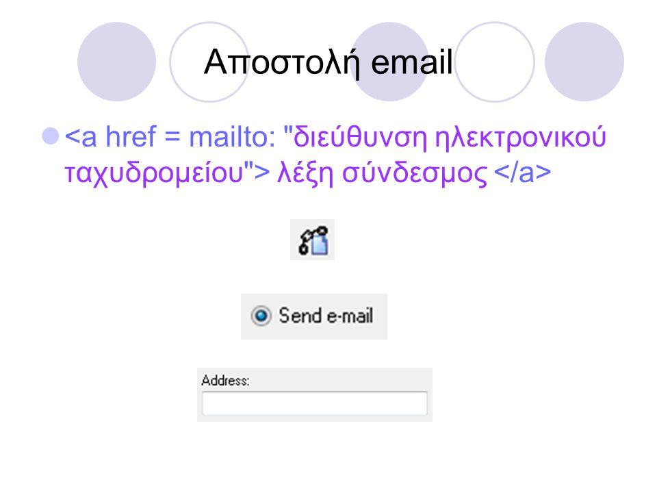 Αποστολή email  λέξη σύνδεσμος