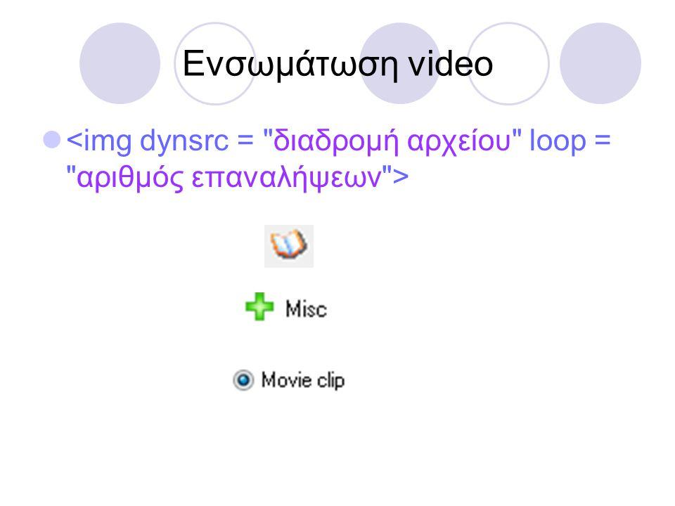 Ενσωμάτωση video 