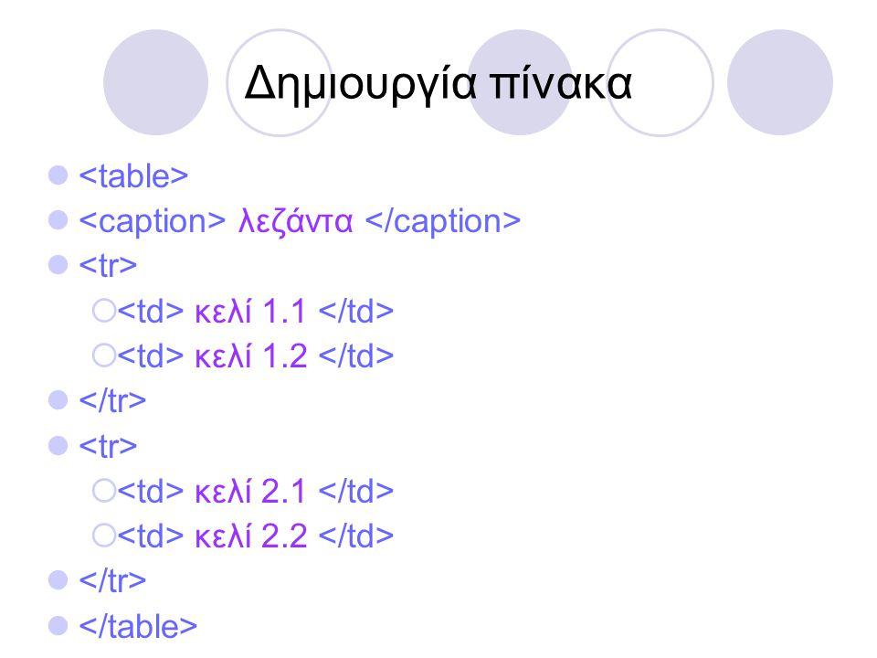 Δημιουργία πίνακα   λεζάντα   κελί 1.1  κελί 1.2   κελί 2.1  κελί 2.2 