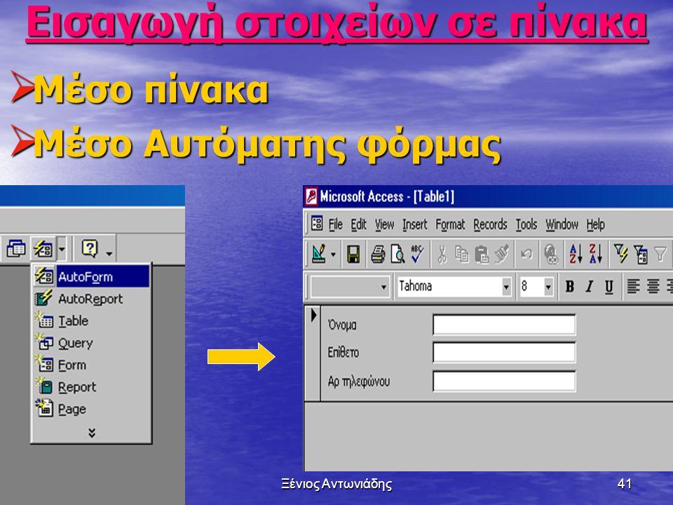 1/7/2014Ξένιος Αντωνιάδης40 Αποθήκευση πίνακα  File-Save as-Όνομα Πίνακα