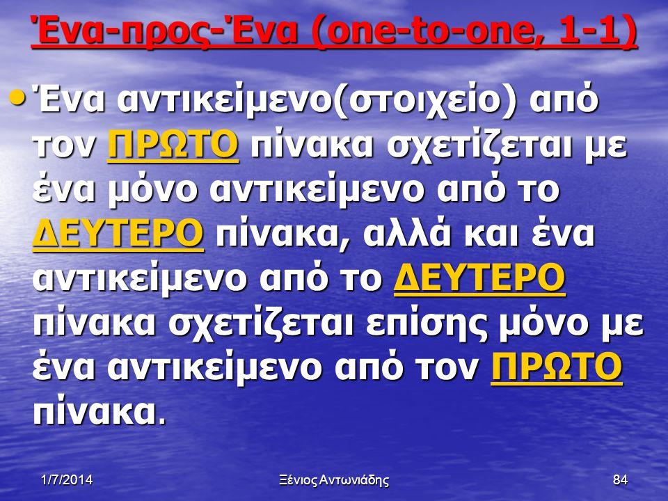 1/7/2014Ξένιος Αντωνιάδης83 Τα είδη των ειδικών σχέσεων που υπάρχουν μεταξύ των πινάκων είναι: • Ένα-προς-Ένα,(one-to-one), 1-1 • Ένα-προς-Πολλά (one-to- many), 1 - ∞ • Πολλά-προς-Πολλά (many- to-many)