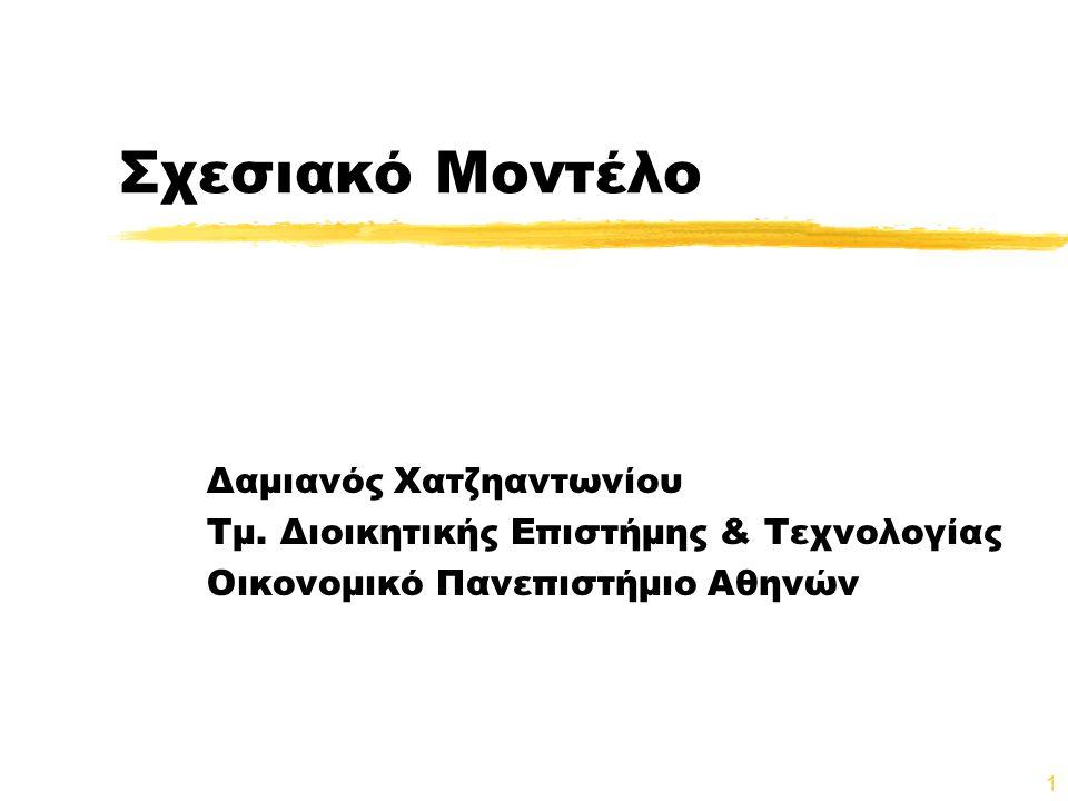 1 Σχεσιακό Μοντέλο Δαμιανός Χατζηαντωνίου Τμ. Διοικητικής Επιστήμης & Τεχνολογίας Οικονομικό Πανεπιστήμιο Αθηνών