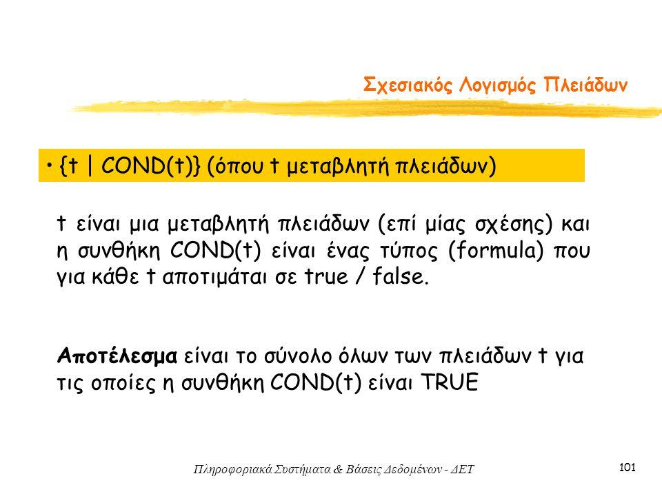Πληροφοριακά Συστήματα & Βάσεις Δεδομένων - ΔΕΤ 101 Σχεσιακός Λογισμός Πλειάδων • {t   COND(t)} (όπου t μεταβλητή πλειάδων) t είναι μια μεταβλητή πλει