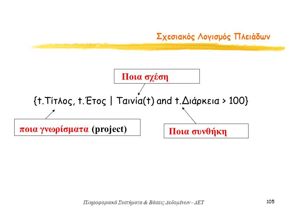 Πληροφοριακά Συστήματα & Βάσεις Δεδομένων - ΔΕΤ 105 Σχεσιακός Λογισμός Πλειάδων {t.Τίτλος, t.Έτος   Ταινία(t) and t.Διάρκεια > 100} ποια γνωρίσματα (p