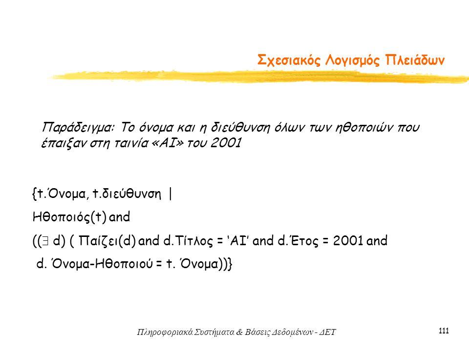 Πληροφοριακά Συστήματα & Βάσεις Δεδομένων - ΔΕΤ 111 Σχεσιακός Λογισμός Πλειάδων Παράδειγμα: Το όνομα και η διεύθυνση όλων των ηθοποιών που έπαιξαν στη