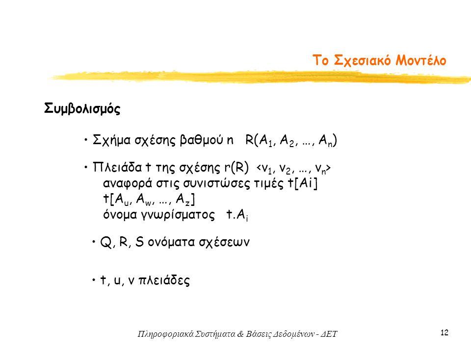Πληροφοριακά Συστήματα & Βάσεις Δεδομένων - ΔΕΤ 12 Το Σχεσιακό Μοντέλο Συμβολισμός • Σχήμα σχέσης βαθμού n R(A 1, A 2, …, A n ) • Πλειάδα t της σχέσης