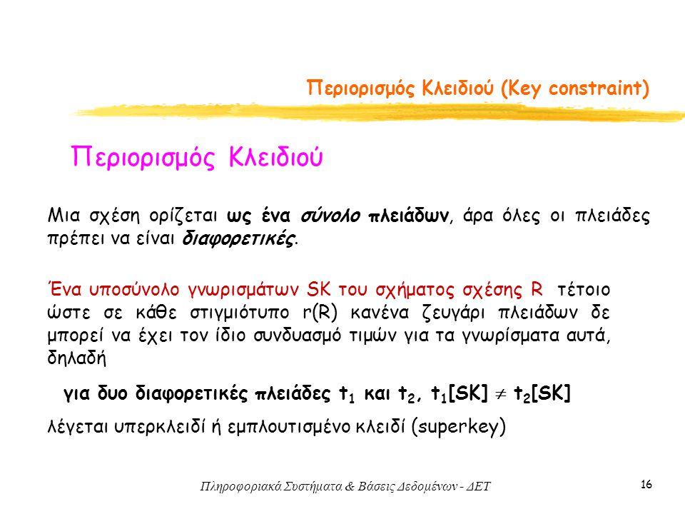Πληροφοριακά Συστήματα & Βάσεις Δεδομένων - ΔΕΤ 16 Περιορισμός Κλειδιού (Key constraint) Περιορισμός Κλειδιού Μια σχέση ορίζεται ως ένα σύνολο πλειάδω
