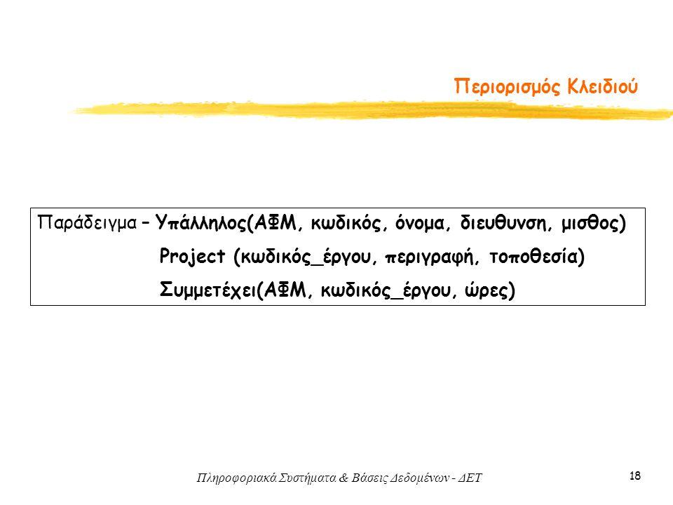 Πληροφοριακά Συστήματα & Βάσεις Δεδομένων - ΔΕΤ 18 Περιορισμός Κλειδιού Παράδειγμα – Υπάλληλος(ΑΦΜ, κωδικός, όνομα, διευθυνση, μισθος) Project (κωδικό