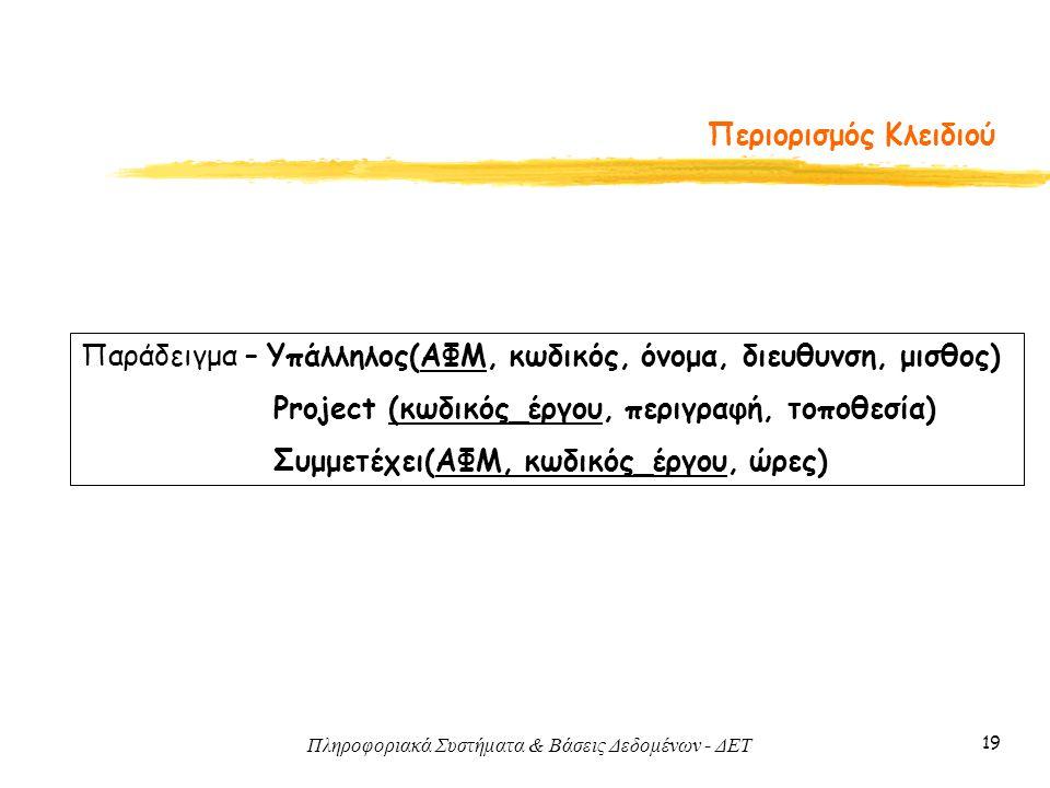 Πληροφοριακά Συστήματα & Βάσεις Δεδομένων - ΔΕΤ 19 Περιορισμός Κλειδιού Παράδειγμα – Υπάλληλος(ΑΦΜ, κωδικός, όνομα, διευθυνση, μισθος) Project (κωδικό
