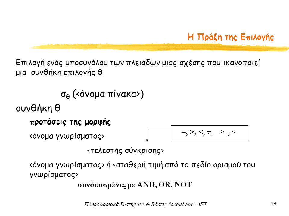 Πληροφοριακά Συστήματα & Βάσεις Δεδομένων - ΔΕΤ 49 Η Πράξη της Επιλογής σ θ ( ) Επιλογή ενός υποσυνόλου των πλειάδων μιας σχέσης που ικανοποιεί μια συ