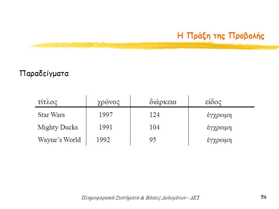 Πληροφοριακά Συστήματα & Βάσεις Δεδομένων - ΔΕΤ 56 Η Πράξη της Προβολής Παραδείγματα τίτλος χρόνοςδιάρκειαείδος Star Wars 1997 124 έγχρωμη Mighty Duck